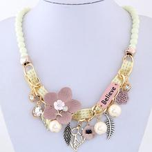 Fashion Necklaces For Women Charm choker Flower Necklace Bead Short Accessories Chain Jewelry Short Accessories Brincos 2019 za