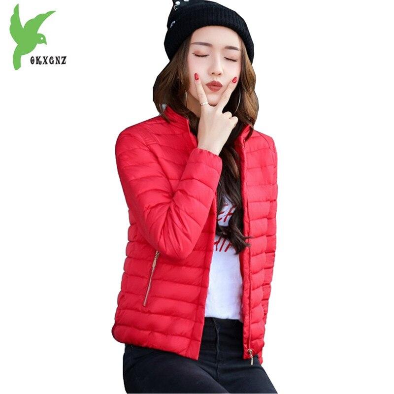 New Autumn Winter Women Down Cotton Jacket Short   Parkas   Fashion Solid color Students Outerwear Plus Size Light thin Coats OKXGNZ