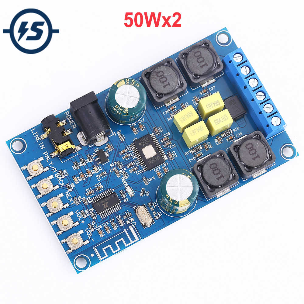 50Wx2 Bluetooth Digital Amplifier Board Dual Channel Audio HIFI Power Amplifiers Module with a Shell Protection