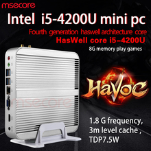 Безвентиляторный Intel I5 4200U Mini PC Windows 10 NUC stick PC неттоп Barebone система настольного компьютера Haswell HD4400 Graphics 300 м Wi-Fi