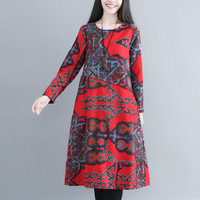 Women's National style retro Dress 2018 autumn and winter new large size loose cotton and linen printed thick warm dress M 2XL