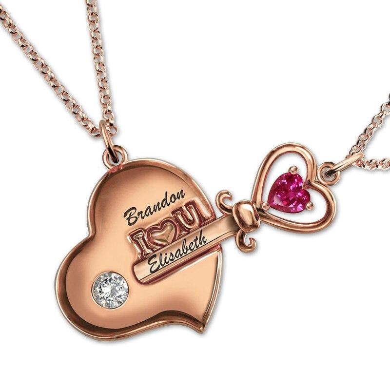 Couple colliers pour amoureux noms personnalisés pendentif paire clé et serrure chaînes 925 bijoux en argent Sterling Naszyjnik collier Mujer