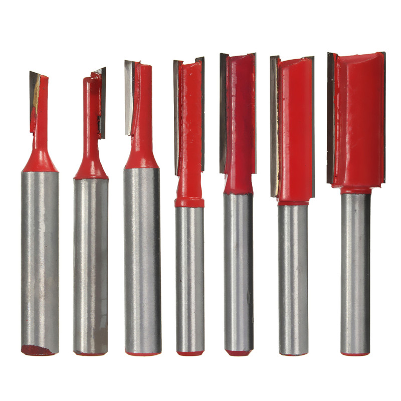 7x Straight Router Bit 1//4 Inch Shank Double Flute Blade Straight Carving