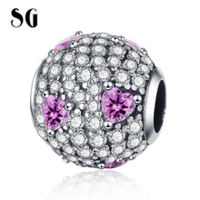 SG New 925 sterling silver luxury Full White CZ Round Beads Heart Pink Charms Fit pandora Bracelet for Women DIY Jewelry