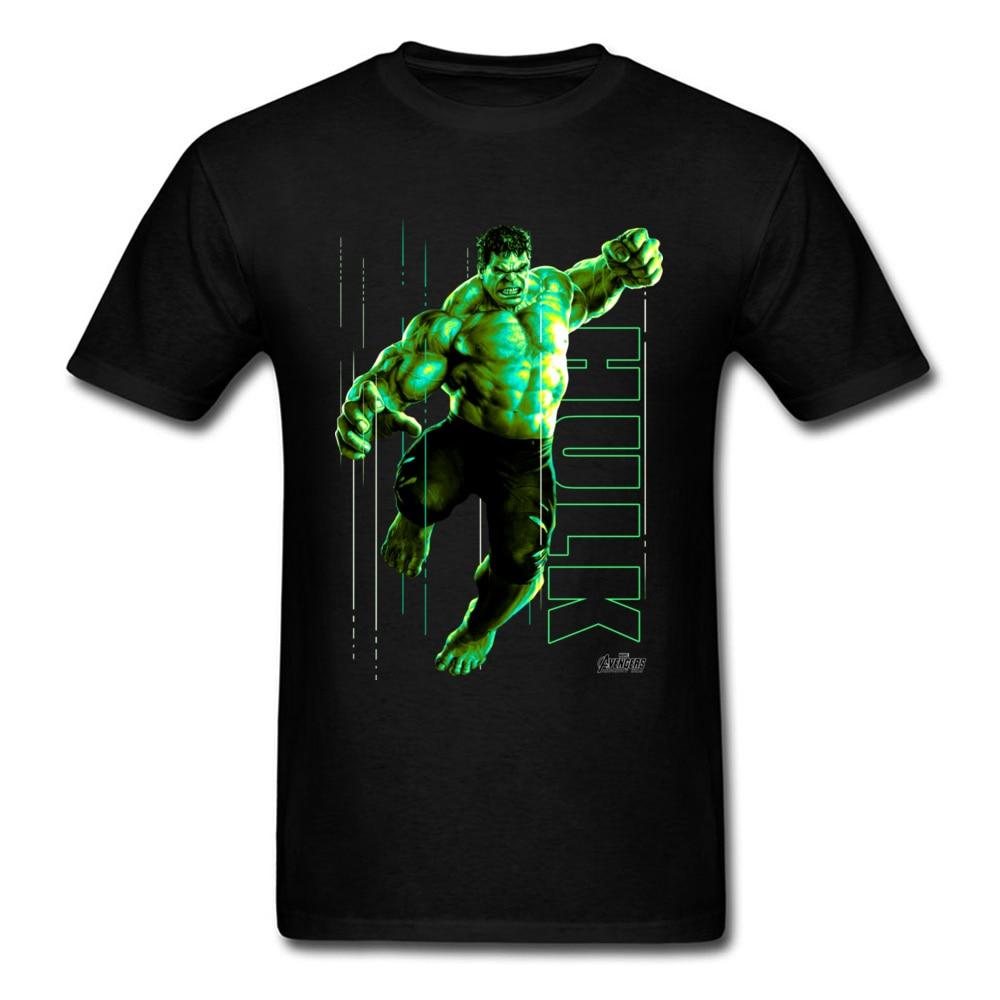 High Quality Marvel Tshirt Men T Shirts The Incredible Glow Hulk T-shirt Black Tops Tee Shirt 100% Cotton Superhero Clothes