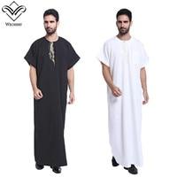 Wechery Summer Jubba Thobe Mens Short Sleeve Embroidery Robes for Men Saudi Islamic Muslim Clothing Plus Size Thobe