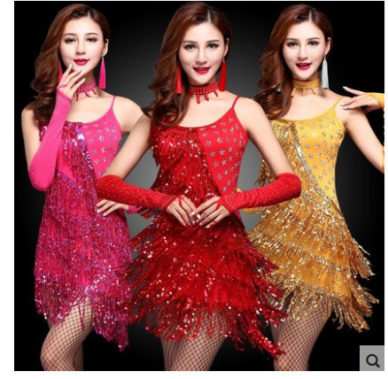 2016 new Free shipping rose gold red fringed tassel sequin women stage  performance dress latin dance costumes adult 9da6bf8b3814