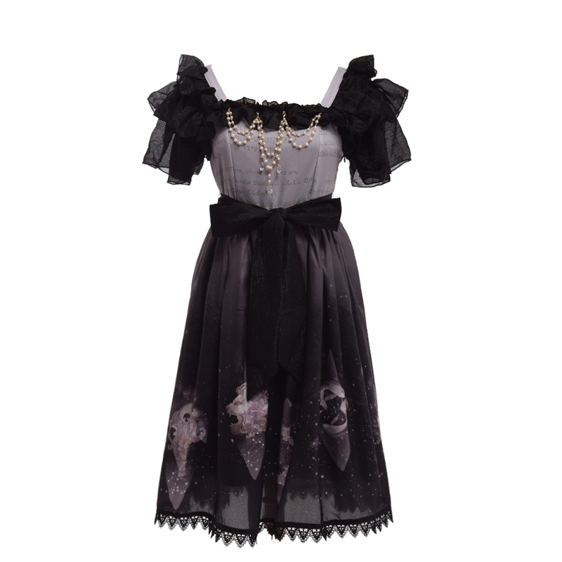 8270e9e407 Girls JSK Short Sleeve Beading Decoration Chiffon Lace Trim Lolita  Constellation Starry Star Dress