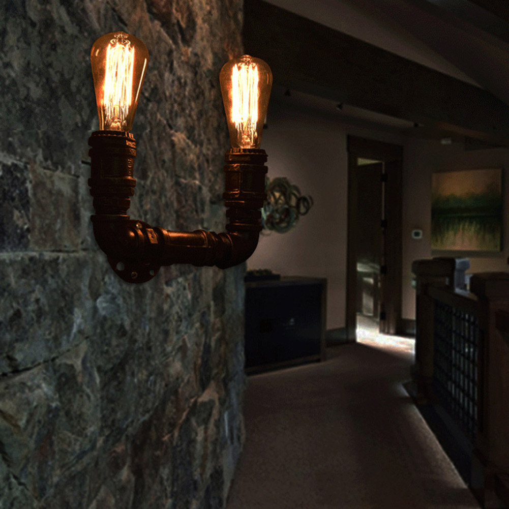 ФОТО Creative Ancient Loft Water Pipe Wall Lamp Sconce American Vintage Industrial Light Fixtures Bar Coffee Home Decor