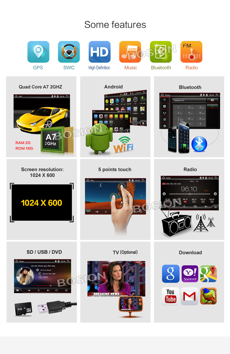 2 Din 8 inch Quad core Android 6.0 vw car dvd for Polo Jetta Tiguan passat b6 cc fabia mirror link wifi Radio CD in dash