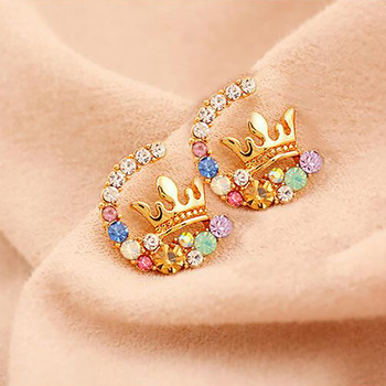 Colorful Rhinestone Earring Gold Color Hollow Imperial Crown Stud Earrings For Women Fashion Crystal Cubic Zirconia Ear Jewelry image