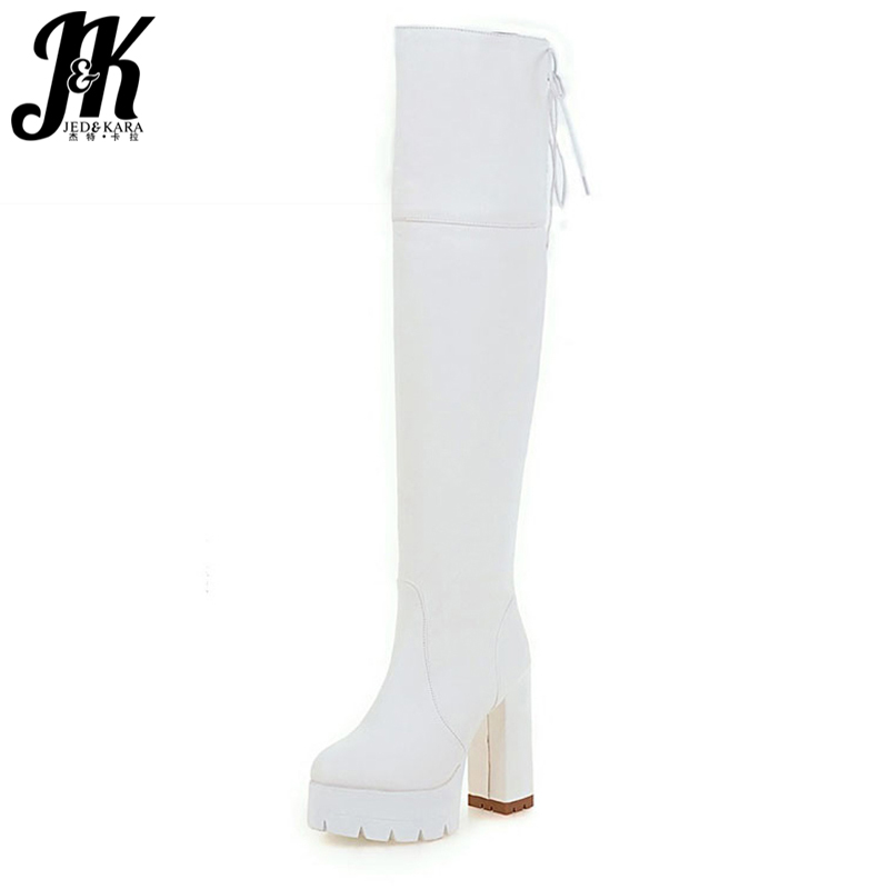 Plus Size 34-43 Sexy Lace Up Thick High Heels Over the Knee Boots Shoes Woman Fashion Platform Mature Winter Thigh High Boots sm size 34 43 2 style lace fall winter boots solid over the knee boots fashion 2016 thick platform high heels winter shoes woman
