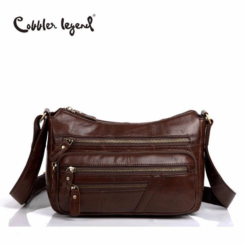 Cobbler Legend Elegant Genuine Leather Bag Female Multi Zipper Designer Bag Gift For Mum Women crossbody