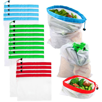 3pcs Hot Sale Reusable Mesh Produce Bags Washable Eco Friendly Bags for Grocery Shopping Storage Fruit Vegetable Toys Sundries Shopping Bags