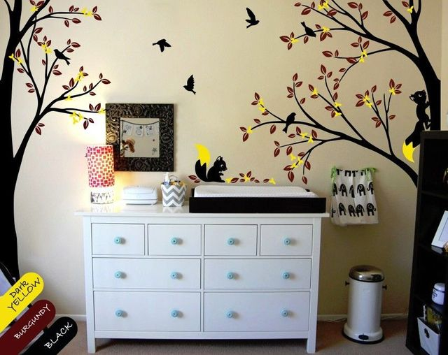 Multi Color Nursery Wall Tree Decal With Birds Squirrels And Leaves DIY Removable Wallpaper Size