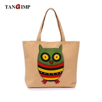 TANGIMP Women Owl Bags Canvas Handbags Female One Shoulder Vintage Portable Cute Owl Cloth Female Shopping