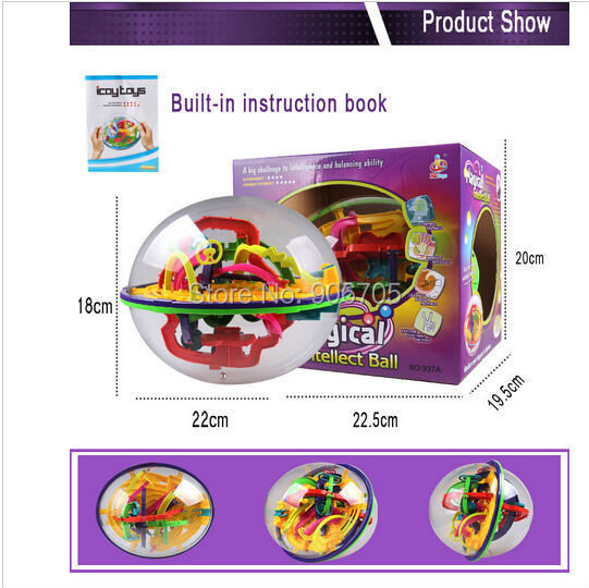 208 Steps 937A  educational toys Magic Intellect Ball Marble Puzzle Game perplexus magnetic balls Game IQ Balance toys
