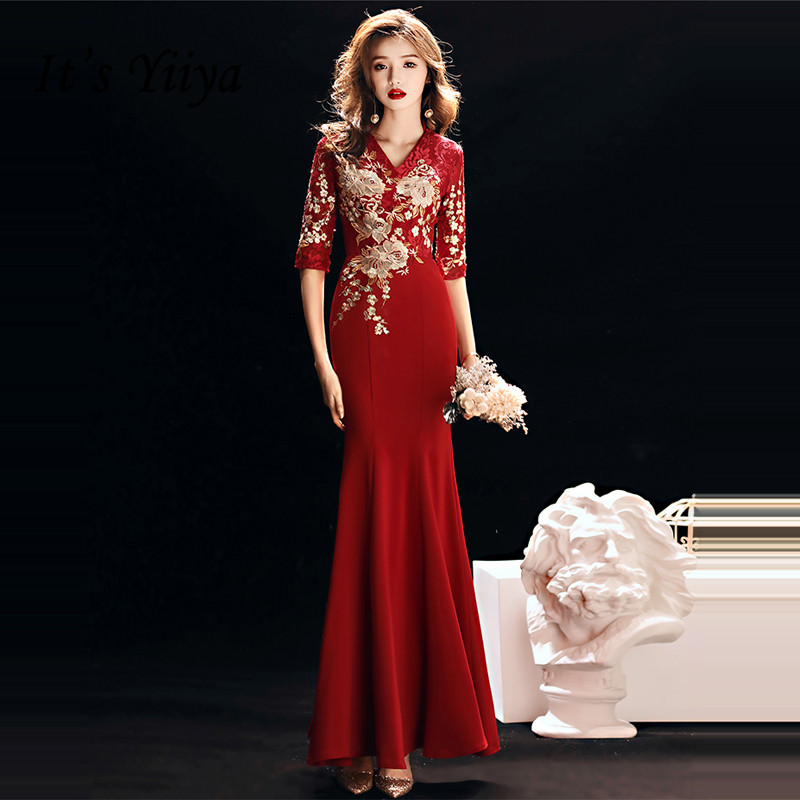It's YiiYa   Evening     Dress   2019 Gold Lace Embroidery V-neck Half Sleeve Wine Red Trumpet   Evening   Gowns TR037 robe de soiree
