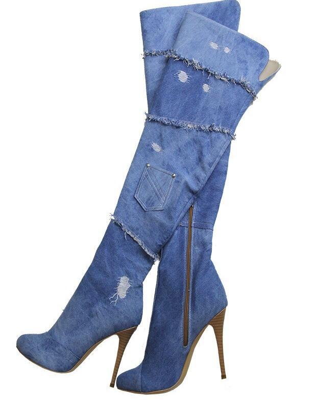Fashion Denim Long Boots Peep Toe Summer Cool Female High Heel Boot Over-the-Knee Thin Heels Shoes Platform Ladies Sandals blue denim cut outs long boots knee high great woman boots thin heel female shoes peep toe fashion shoes night club boots