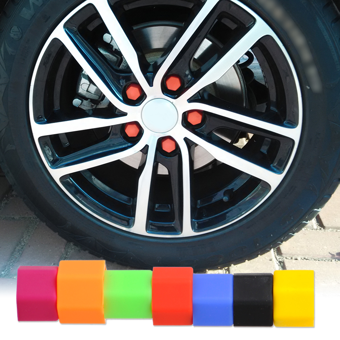 beler 20Pcs Universal Silicone Car Wheel Lug Nut Bolt Cover Protective Tyre Valve Screw Cap Antirust 17MM for VW Ford BMW Toyota