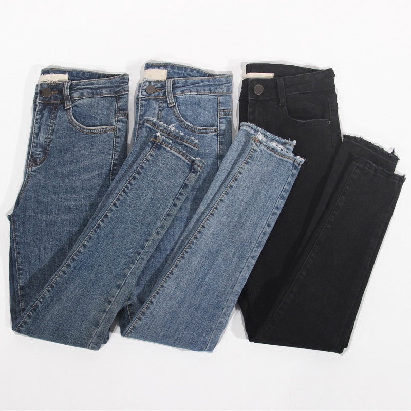 Stretch High Waist   Jeans   Women Spring Summer Slim Skinny   Jeans   Woman Pencil Pants Vaqueros Mujer Denim Black   Jeans   Femme C5237