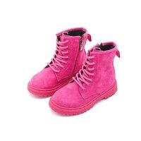 Alta calidad! Gamuza invierno Botas para niñas niño MEDIADOS DE-becerro Botas cremallera de los niños negro Martin Botas Niños cuero niñas Zapatos