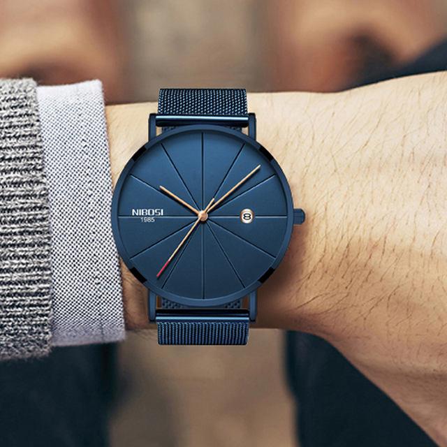 NIBOSI Men Blue Stainless Steel Ultra Thin Watches Men Classic Quartz Watches Luxury Date Men's Wrist Watch Relogio Masculino