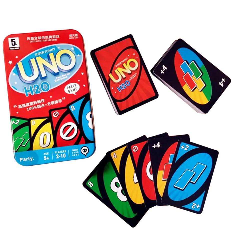 Waterproof UNO Board Game playing cards poker game Friends Kids Children Entertainment Fun Playing Board Game Kit Toy Metal Box