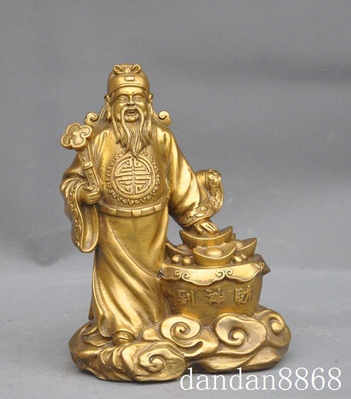 Рождество Китай Китайский Латунь Медь деньги Yuanbao Монета жуй jambhala Богатство Бог Статуя Хэллоуин