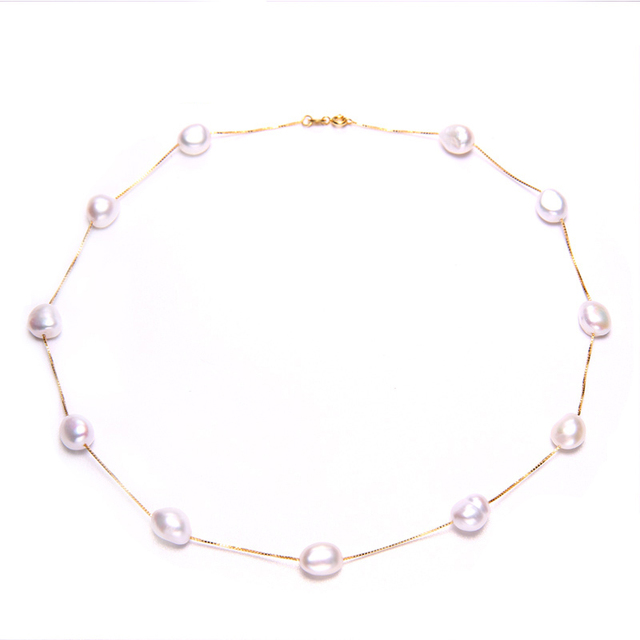 0584cdfcf4cec US $14.19 45% OFF|DAIMI Sterling Silver Tin Cup Station Chain Freshwater  Cultured Pearl Jewelry European Style Natural Pearl Necklace For Woman-in  ...