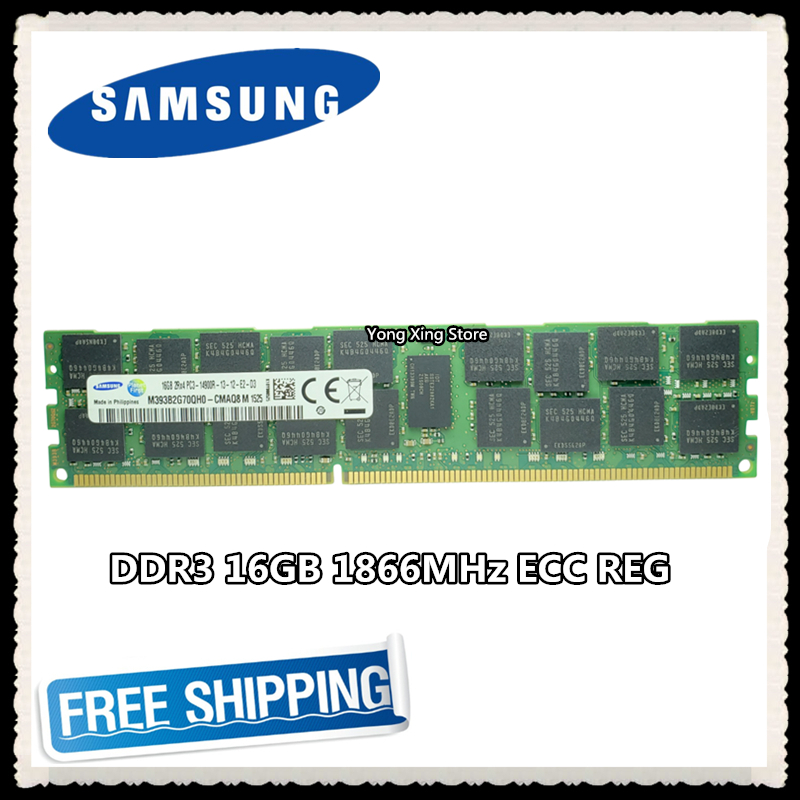 <font><b>Samsung</b></font> server memory <font><b>DDR3</b></font> 16GB 32GB 1866MHz <font><b>ECC</b></font> <font><b>REG</b></font> <font><b>DDR3</b></font> PC3-14900R Register DIMM RAM 14900 8G 2RX4 X79 image