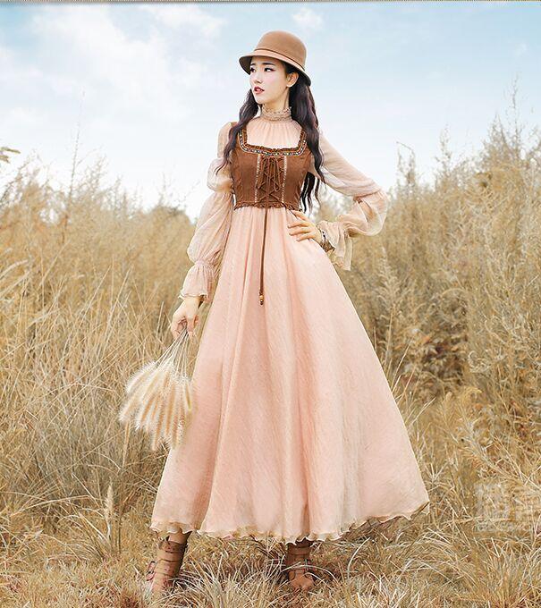 Antique Dressing Gown: Freeship Light Brown Chiffon Farm Long Dress Vintage