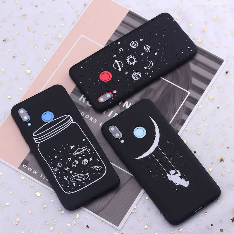 For Samsung S8 S9 S10 S10e Plus Note 8 Note 9  Space Moon Astronaut Stars Candy Silicone Phone Case Cover Capa Fundas Coque