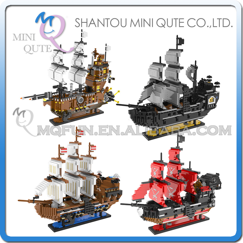 Full Set 4pc/lot Mini Qute Lele Brother Huge Anime one piece Luffy pirate Navy Ship building block cartoon model educational toy