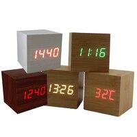 USB AAA Powered Cube LED Digital Alarm Clock Square Modern Sound Control Wood Clock Display Temperature