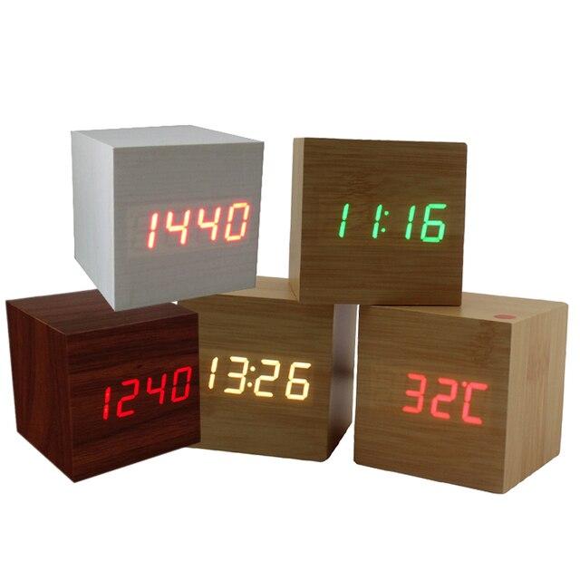 New Cube LED Digital Alarm Clock Night light Square Modern Sound Control Wood Clock Display Temperature USB/AAA Powered 10 Color