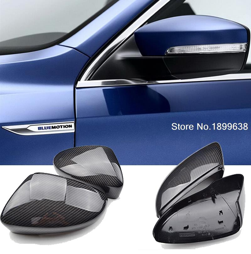 NEW 1:1 Replacement Carbon Fiber Rear View Mirror Cover car styling For Volkswagen VW Passat Scirocco 2009 - 2014 for ford mustang 2008 2009 2010 2011 2012 2013 add on style carbon fiber rear view mirror cover black finish