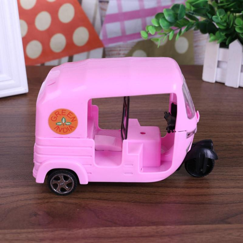 Cute Toys Mini Pink Tricycle Car Toy Kids Plastics Vehicle Pretend Play Gift for Barbie Pretend Play Dollhouse Accessory