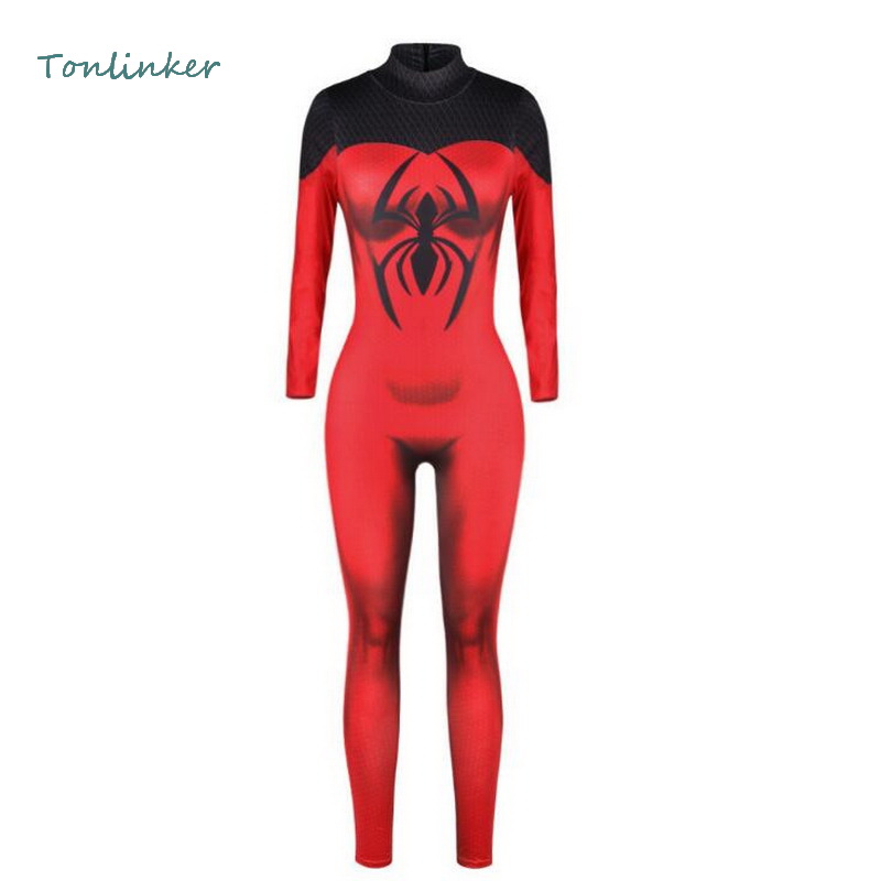 Tonlinker Halloween Cosplay Spider Man Superhero Jumpsuit Costume Women 3D Digital Printied Bodysuit