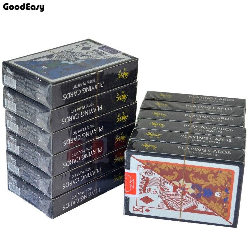 12 ponts livraison gratuite 100% jeu de cartes à jouer en plastique imperméable à l'eau Durable Texas Hold'em Poker carte en plastique intérieur jeu de société