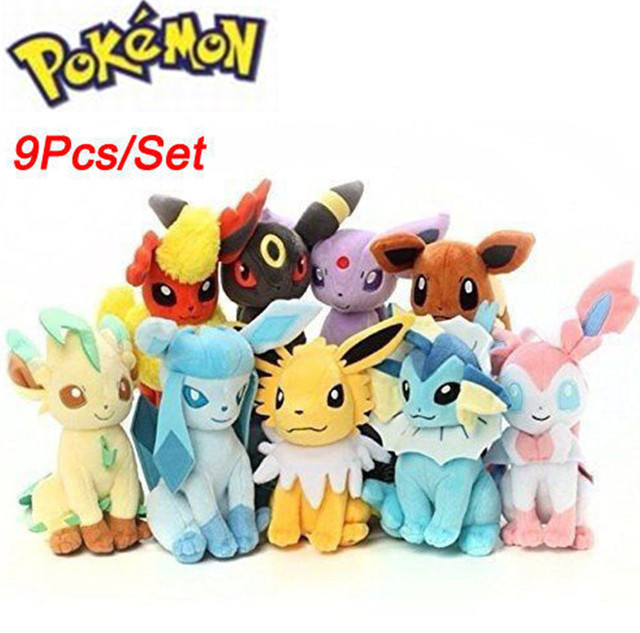 "8 ""Grande 9 pcs Pokemon Evolução de Eeveelution Eevee Plush doll Toy Kids Presentes Eevee Filmes de Família"