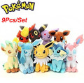 "8"" Large 9pcs Pokemon Evolution of Eevee Plush doll Toy Eeveelution Kids Gifts Eevee Family Movies"