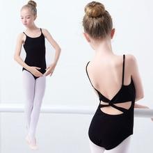 ФОТО child camisole ballet leotard black cotton ballet bodysuit girls kids multi-straps gymnastics dance wear