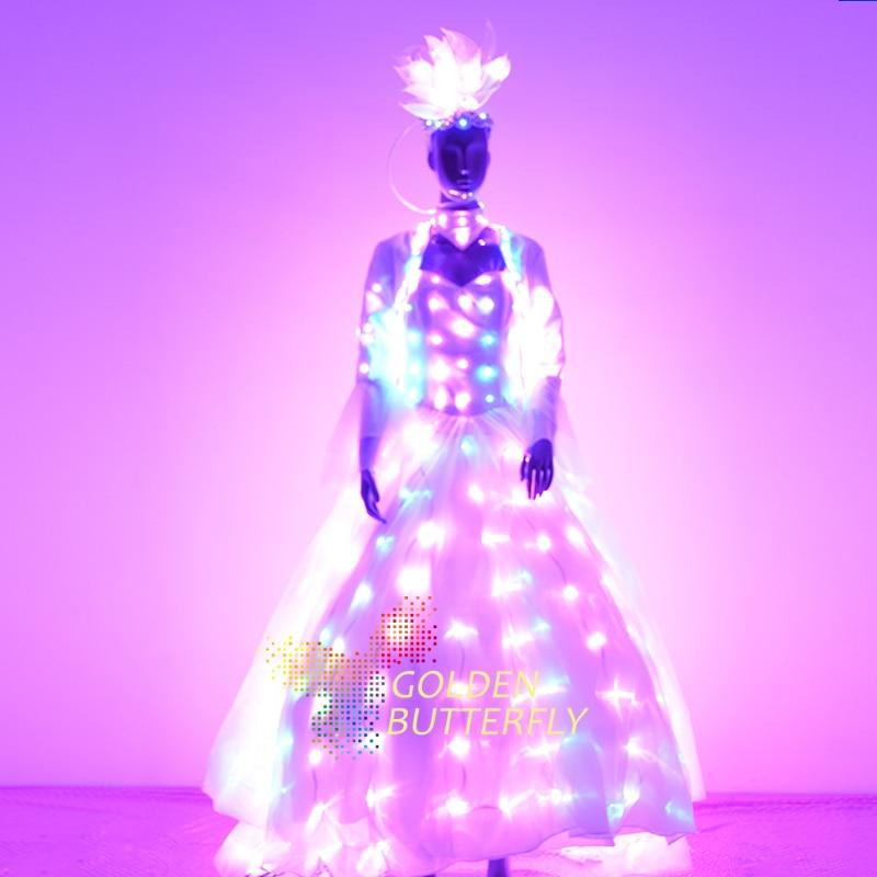 Mulheres de Roupas Terno Luminosa LED Glowing LED Roupas Trajes Asa 2017 Vendedores Senhora Vestidos de Dança Acessórios Frete Grátis