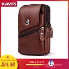 222db49b2e41b KAVIS 100% Hakiki Deri Bel Erkekler Seyahat fanny paketi Kemer Döngüler  Kalça bel çantası Cep Telefonu kılıf tutucu Erkek Yüksek.