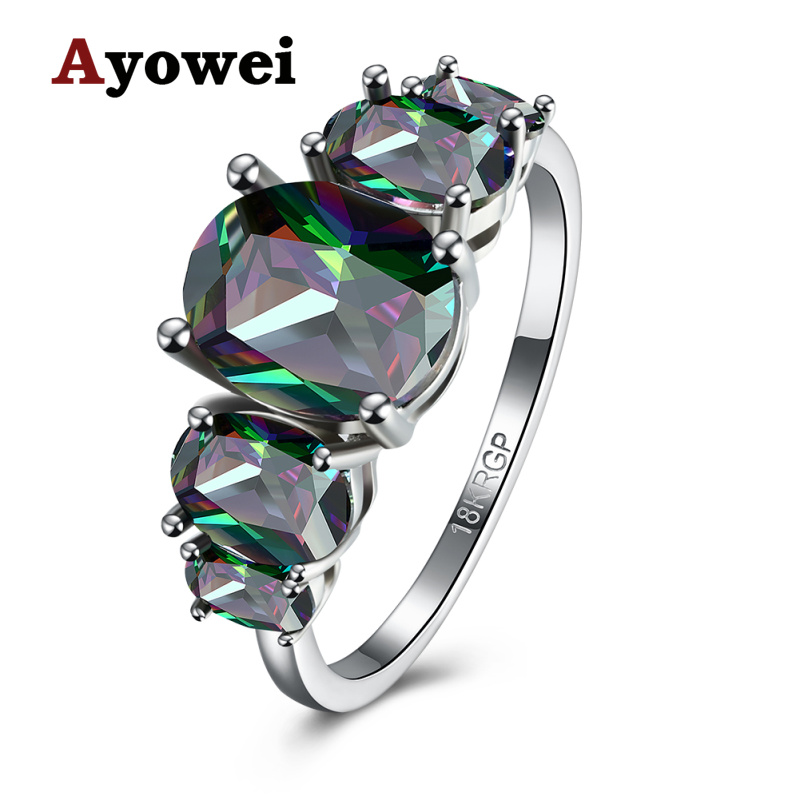Ayowei Special Beautiful Fashion Cubic Zirconia Multicolor Crystal Jewelry For Women silver Rings Size #6#7#8 JR2149A