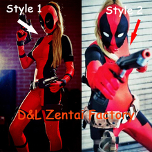 Free Shipping DHL New Arrival Full Body Lady Sexy Red and Black Deadpool Zentai Costume Lycra Spandex Halloween Zentai Suit