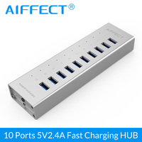 AIFFECT 10 Port Aluminum Alloy BC1.2 12V2A Fast Charging Charger USB 3.0 HUB with 1M USB Data Cable for iPhone Xiaomi HTC Huawei