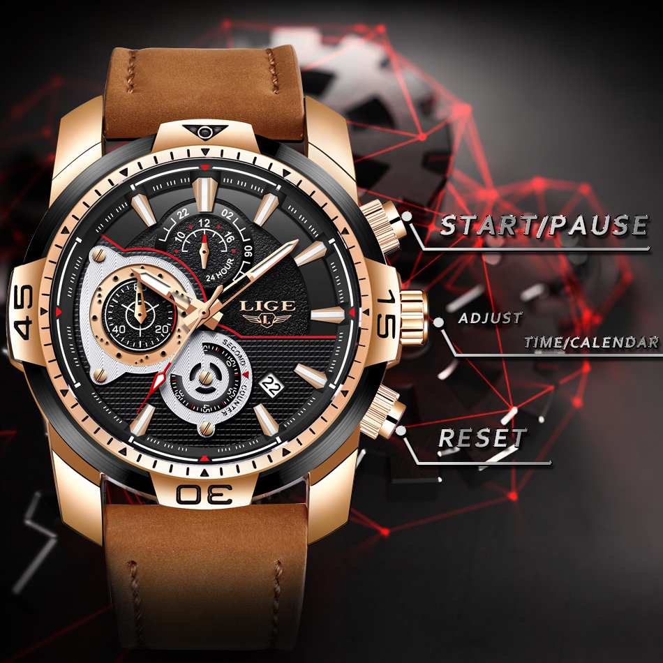 HTB1t09TXsnrK1RjSspkq6yuvXXas LIGE Mens Watches Top Brand Luxury Casual Leather Quartz Clock Male Sport Waterproof Watch Gold Watch Men Relogio Masculino