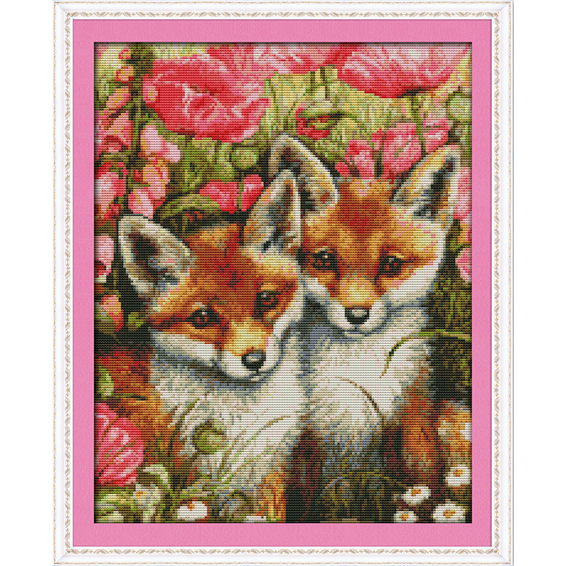 Everlasting love Christmas Two little Chinese cross stitch kits Ecological cotton counted stamped 11CT New store sales promotion